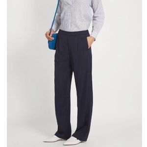 Vince Navy Satin Pleated Trousers